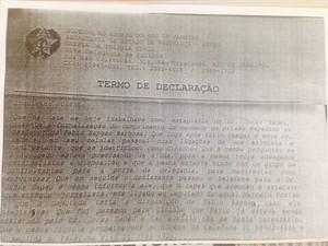 Termo de declaração do estagiário Marcelo Matoso (Foto: G1)
