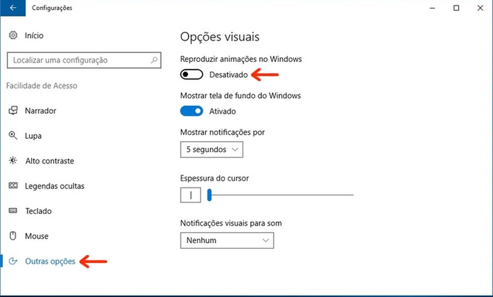 Desativação da reprodução de animações no Windows (Foto: Reprodução/Raquel Freire)