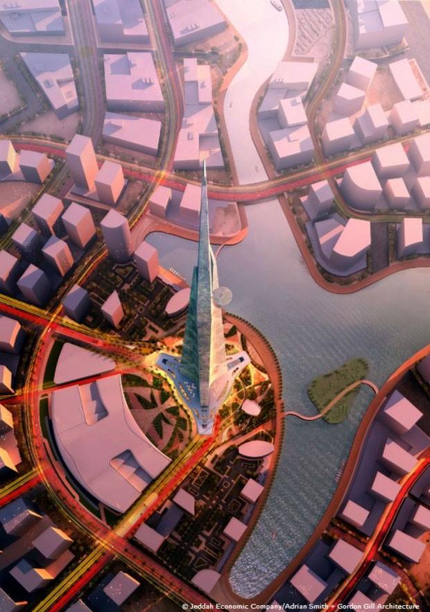 Levar concreto a andares mais altos será desafio  (Foto: Jeddah Economic Company)