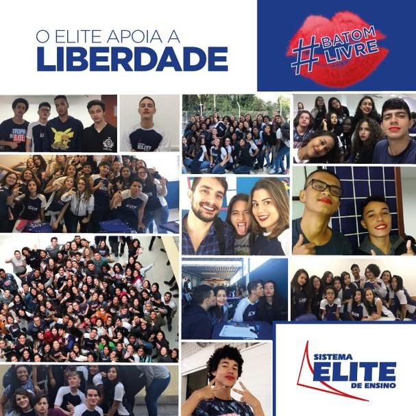 Após o movimento, o colégio se posicionou a favor do aluno e usou a hashtag #batomlivre  (Foto: Reprodução Twitter)