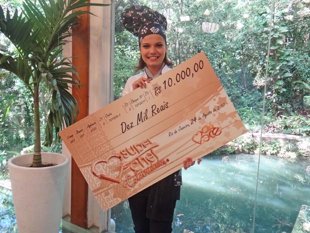 Milena vence prova ao vivo e fatura R$ 10 mil (Foto: Mais Você / TV Globo)