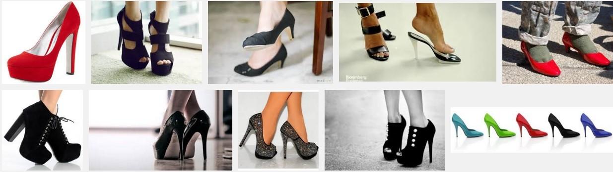 Sapatos de salto alto usados por mulheres
