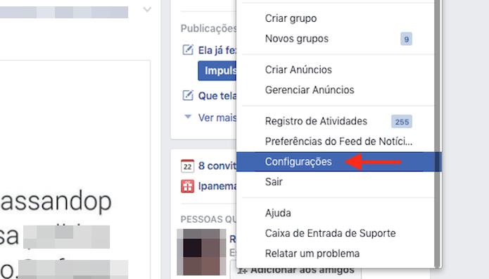 Acessando as configurações de uma conta do Facebook (Foto: Reprodução/Marvin Costa) (Foto: Acessando as configurações de uma conta do Facebook (Foto: Reprodução/Marvin Costa))