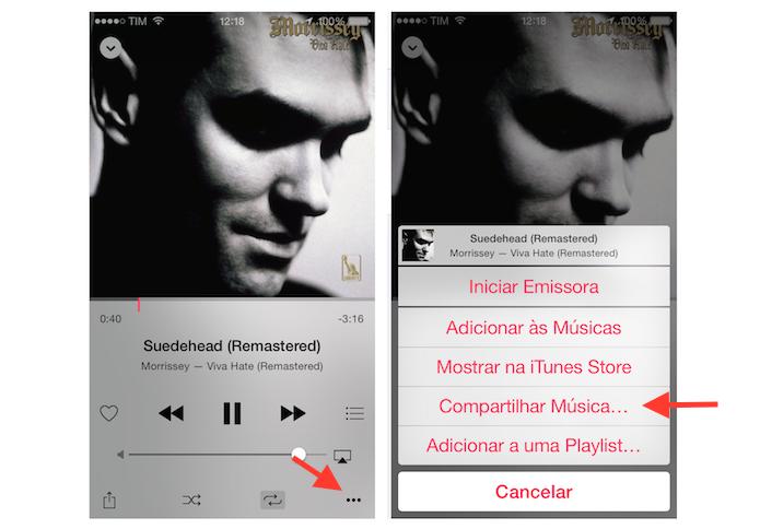 Acessando as opções de compartilhamento de uma música pelo player do Apple Music para iPhone (Foto: Reprodução/Marvin Costa)