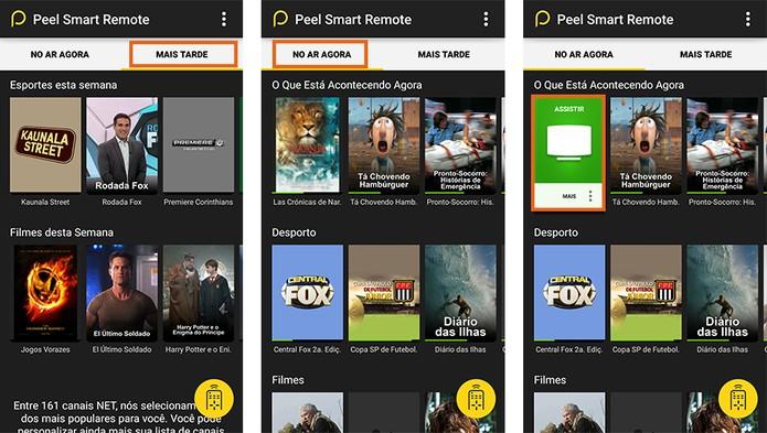 O app Peel Smart Control mostra a programação e permite acessar os canais (Foto: Reprodução/Barbara Mannara)