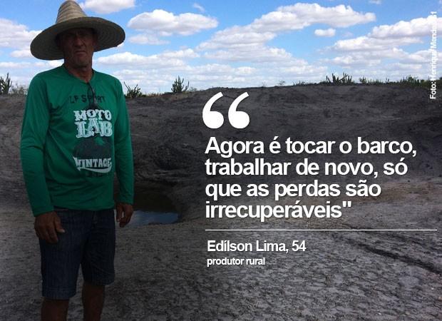 Edílson Lima é produtor rural na comunidade de Queimada do Curral (Foto: Henrique Mendes / G1)