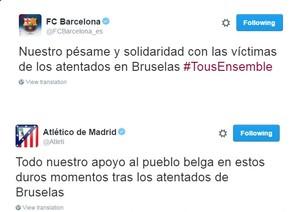 Atlético de Madrid e Barcelona mandam mensagens em solidariedade à Bélgica (Foto: Twitter)