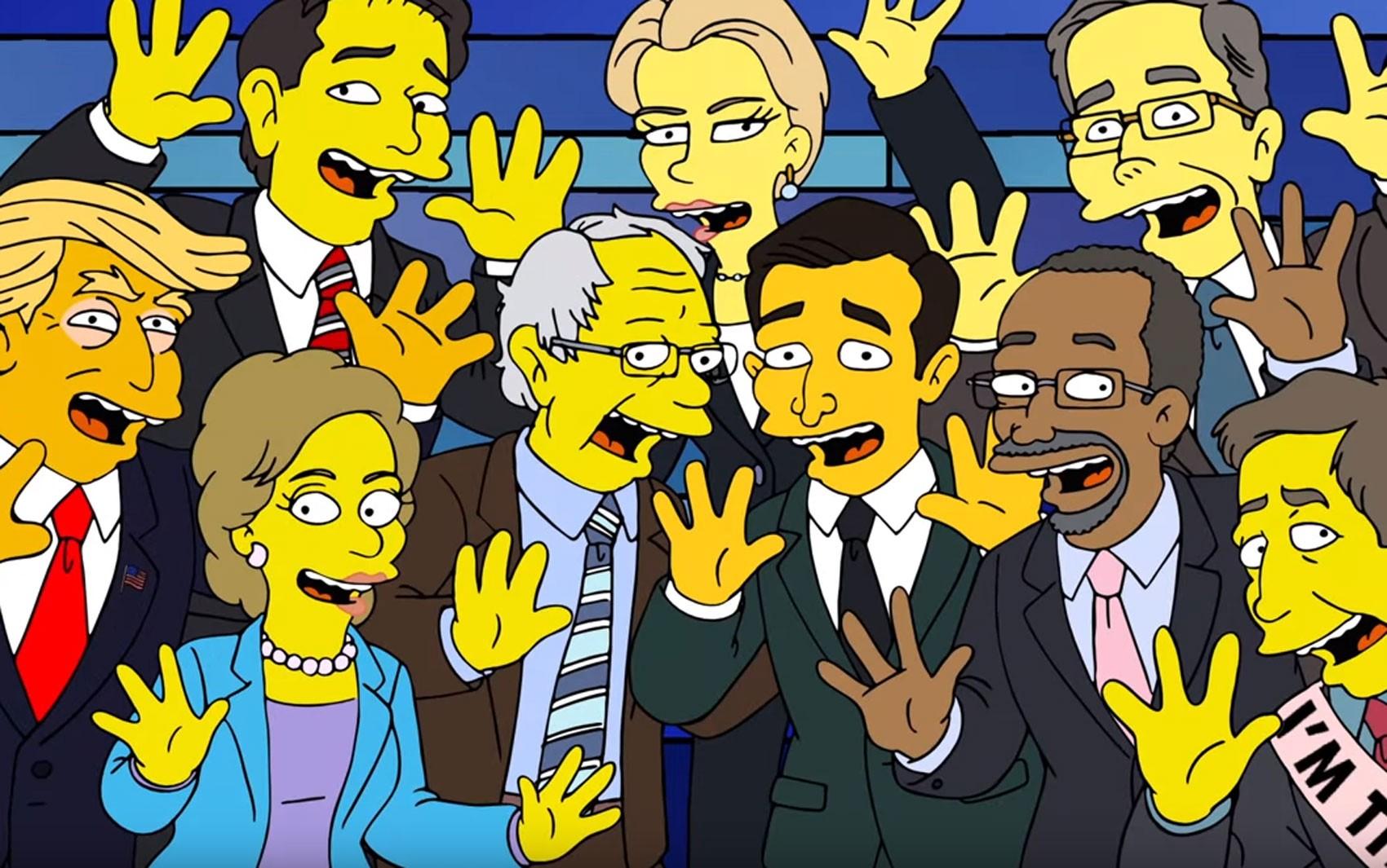 Pré-candidatos republicanos e democratas cantam juntos em cena de 'Os Simpsons' (Foto: Reprodução/Youtube)