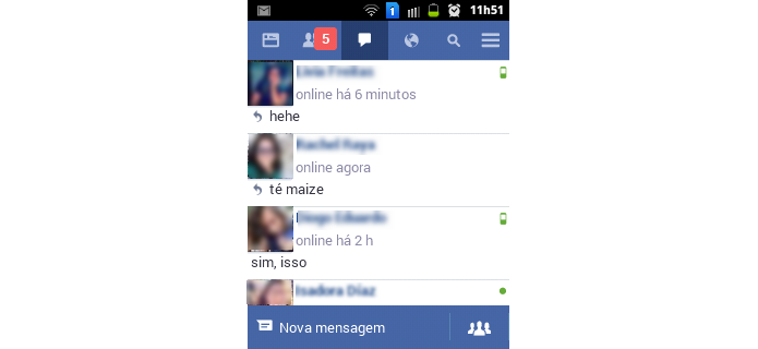 Chat do Facebook Lite (Foto: Reprodução/Raquel Freire)