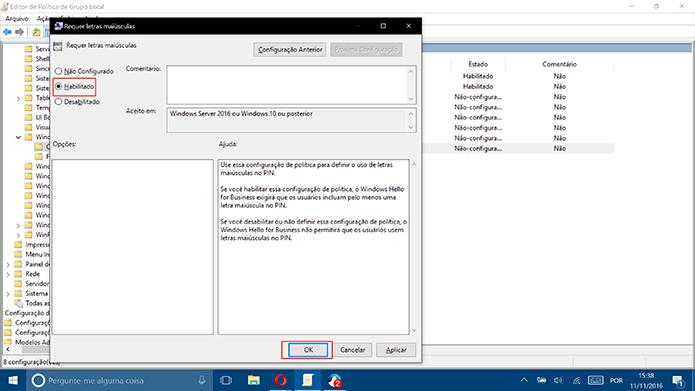 Clique em Habilitado para ativar a complexidade do PIN do Windows 10 (Foto: Reprodução/Elson de Souza)