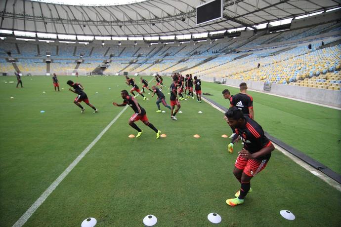 Jogadores rubro-negros durante trabalho no gramado (Foto: Gilvan de Souza/Flamengo)