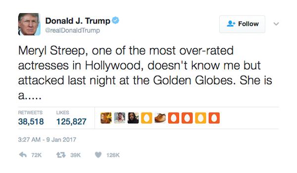 A crítica de Donald Trump a Meryl Streep (Foto: Twitter)