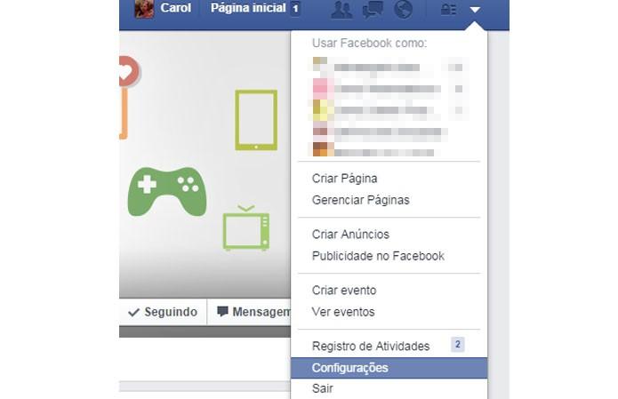 Acesse as configurações do Facebook (Foto: Reprodução/Carol Danelli)