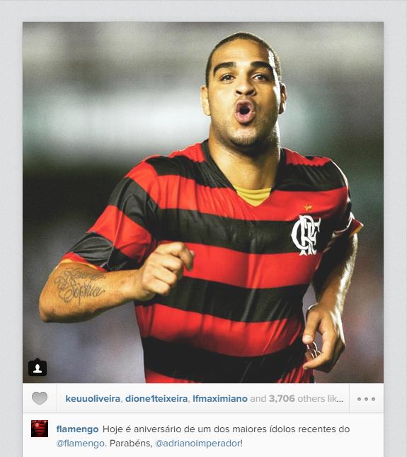 Flamengo faz homenagem a Adriano