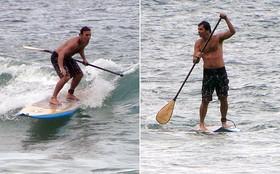Marcelo Faria exibe boa forma aos 40 e surfa em gravação de Amor Eterno Amor