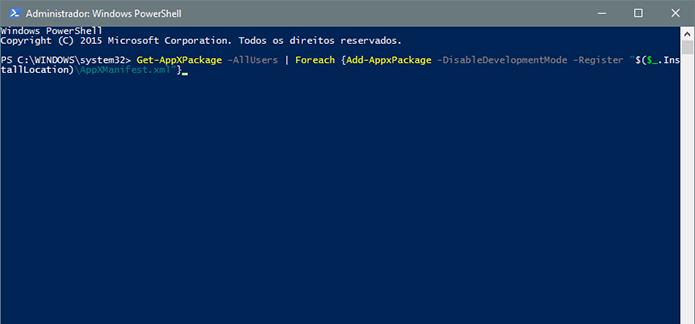 Use o Powershell para reinstalar os apps nativos do Windows 10 (Foto: Reprodução/Paulo Alves)