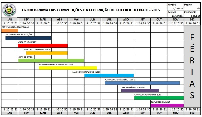 Calendário de competições 2015 (Foto: Reprodução)