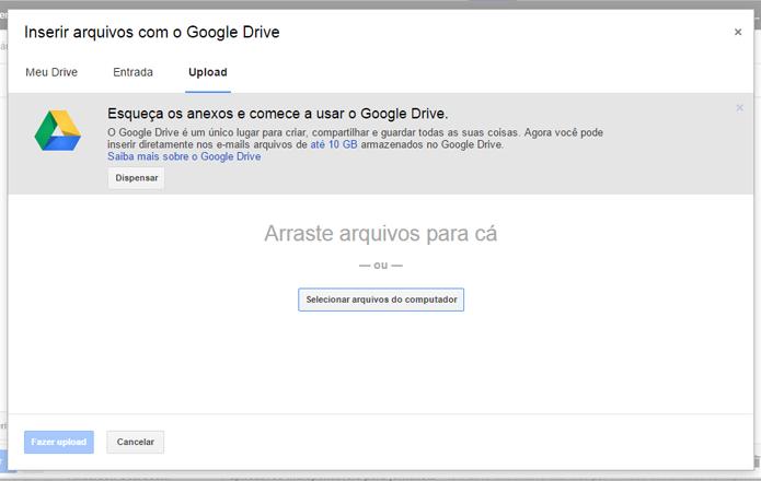 Carregar arquivos no Drive burla o limite de 25mb de anexos do Gmail (foto: Reprodução/Google)