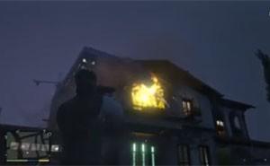 Franklin atira mísseis contra a casa de MIchael (Foto: Reprodução/YouTube)