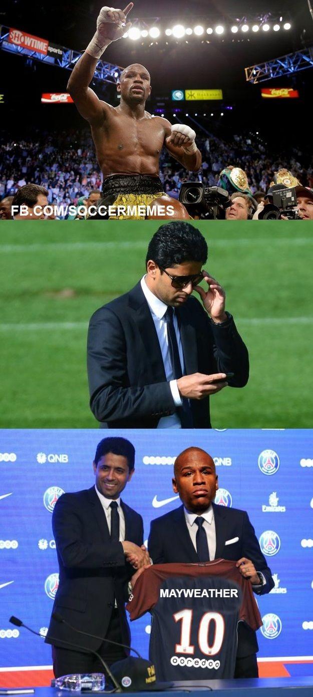 PSG de olho em Mayweather. Presta atenção, Neymar! (Foto: Reprodução/Twitter)