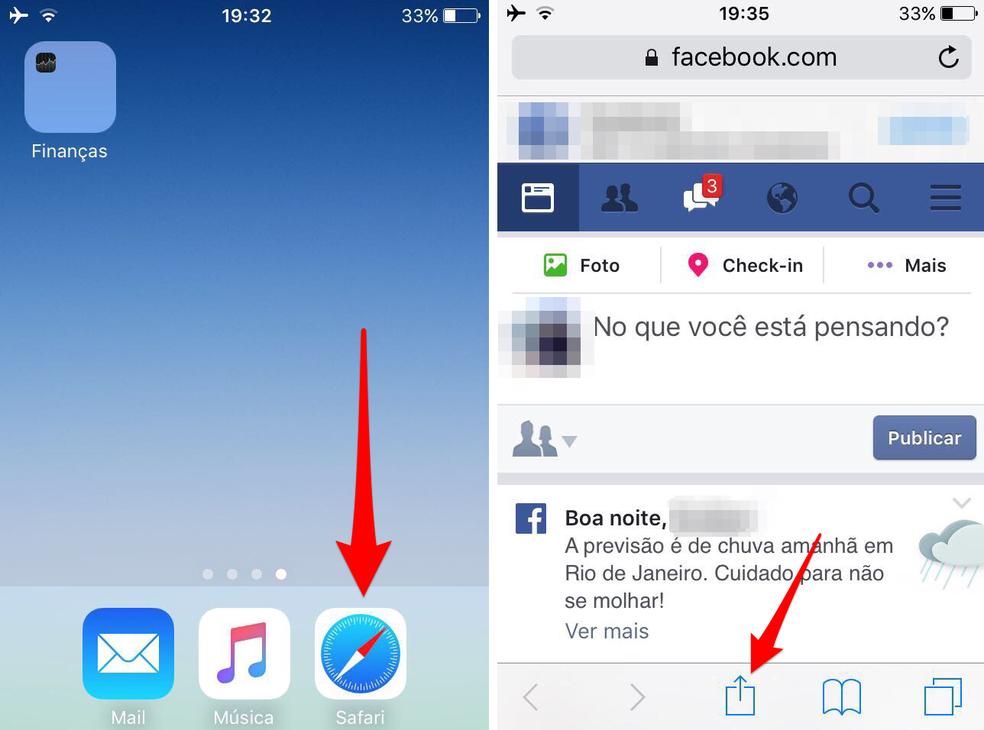 Abra o Facebook no Safari do iPhone (Foto: Reprodução/Lucas Mendes)