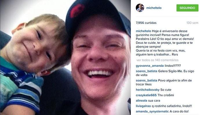 Agora a postagem do titio Michel para o caçula, Leo. Muita fofura!!! (Foto: Reprodução internet)