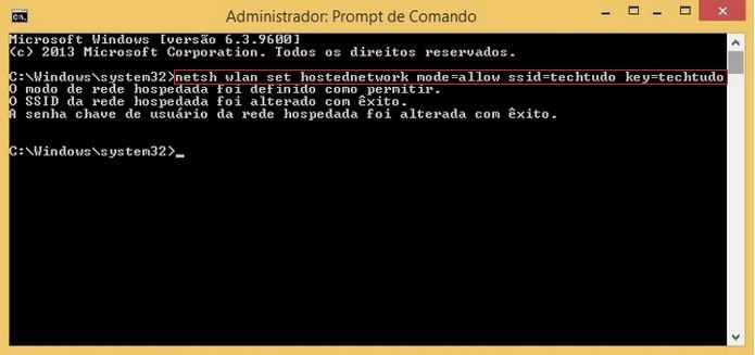 Destaque para comando de criação de ponto de acesso (Foto: Reprodução/Raquel Freire)