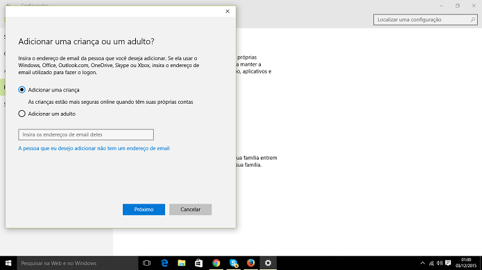 Conta de família do Windows 10 pode impedir que crianças acessem qualquer website (Foto: Reprodução/Elson de Souza)