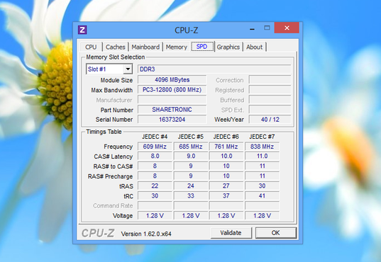 screenshot de CPU-Z