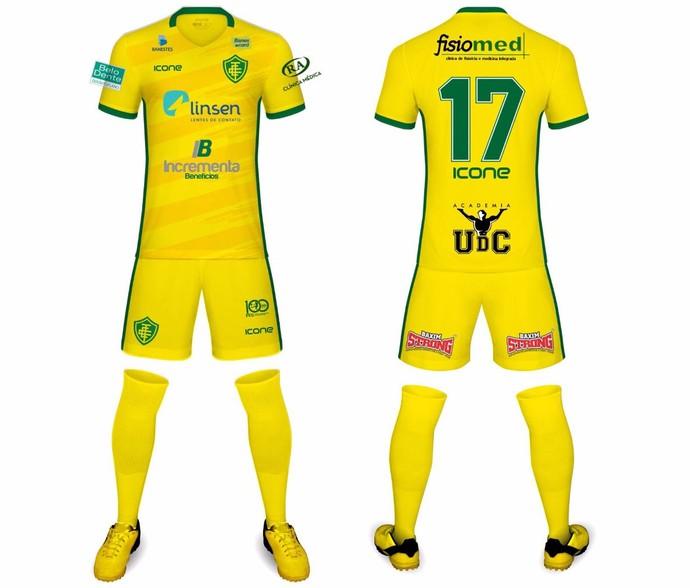 Tradicional uniforme do Tupy-ES, na cor amarela (Foto: Divulgação/Tupy-ES)