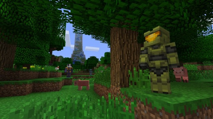 O clássico garoto propaganda do Xbox, Master Chief, também ganhou sua versão em Minecraft (Foto: xblafans.com)