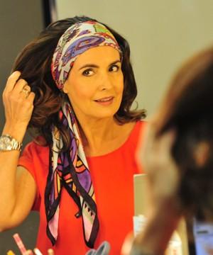 A apresentadora sugeriu o uso do lenço (Foto: Divulgação/ TV Globo)