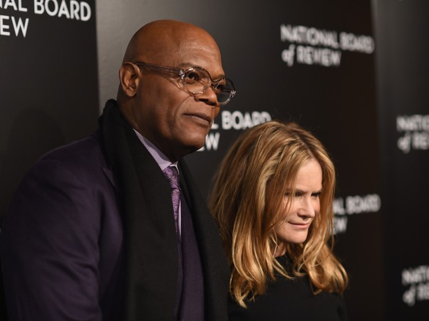 Samuel L. Jackson e Jennifer Jason Leigh em evento em Nova York, nos Estados Unidos (Foto: Dimitrios Kambouris/ Getty Images/ AFP)