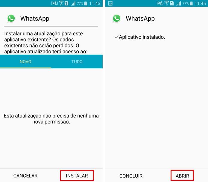 Agora é só instalar e abrir a mais nova versão do WhatsApp (Foto: Reprodução/Aline Batista)