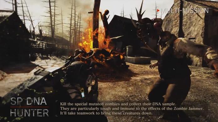 SP DNA Hunter é uma variante mais difícil do DNA Hunter de Umbrella Corps por usar zumbis mutantes mais fortes (Foto: Reprodução/YouTube)
