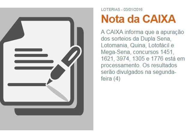 Mega-Sena: Caixa adia divulgação do rateio do concurso 1.776  (Foto: Reprodução)
