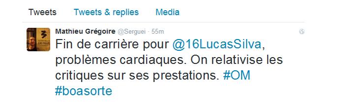 Twitter reporter Lequipe Lucas Silva (Foto: Reprodução)