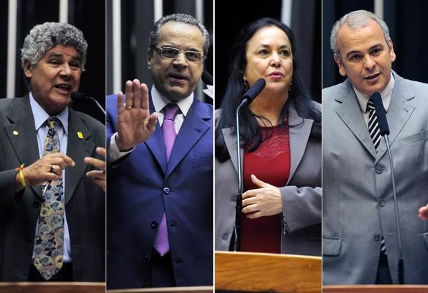 Os deputados Chico Alencar (PSOL-RJ), Henrique Eduardo Alves (PMDB-RN), Rose de Freitas (PMDB-ES) e Júlio Delgado (PSB-MG), que disputam presidência da Câmara (Foto: Agência Câmara)