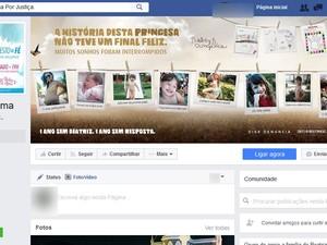 Perfil Beatriz Clama por Justiça em rede social na internet (Foto: Reprodução/ Facebook)