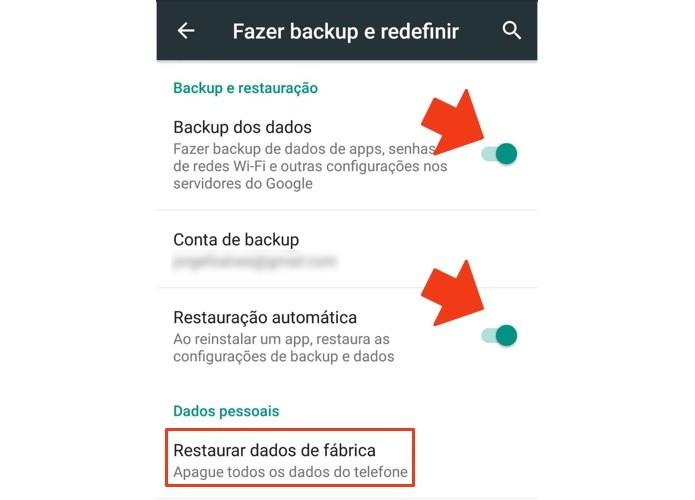 Ative o backup da conta antes de restaurar (Foto: Reprodução/Paulo Alves)