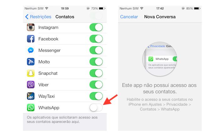 Impedindo que o WhatsApp acesse os contatos do iPhone (Foto: Reprodução/Marvin Costa)