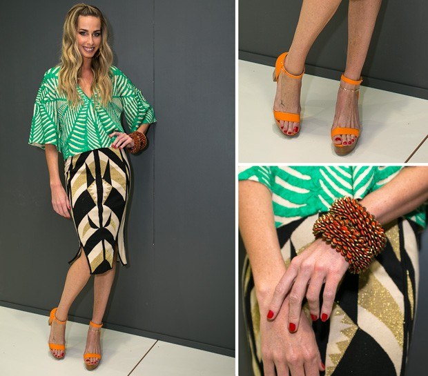 No segundo look do dia, Mari Weickert veste saia e blusa Gig, sandlias Cris Barros, braceletes gua de Coco e brincos de Acervo (Foto: Felipe Costa)
