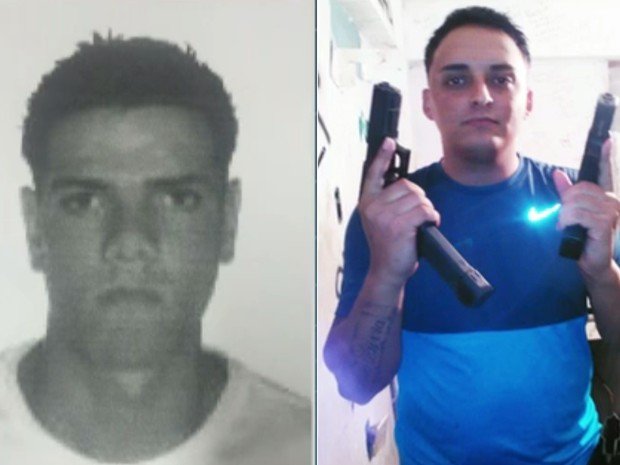 """Sérgio Luiz da Silva Júnior (esquerda), conhecido como """"da russa"""", é apontado pela polícia como chefe do tráfico no Morro da Barão, na Praça Seca, onde o estupro coletivo aconteceu, e Moisés de Lucena (direita), conhecido como Canário, é apontado como seg (Foto: Reprodução/TV Globo)"""