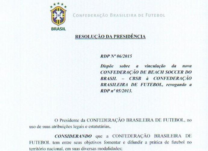 CBF emite nota dando chancela do futebol de areia para a CBSB (Foto: Reprodução)
