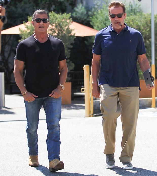Sylvester Stallone e  Arnold Schwarzenegger (Foto: The Grosby Group)