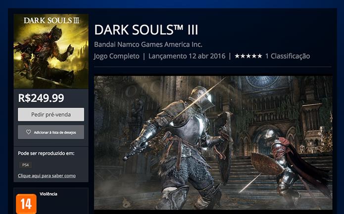 Na página de Dark Souls 3, clique em Pedir pré-venda (Foto: Reprodução/Murilo Molina)