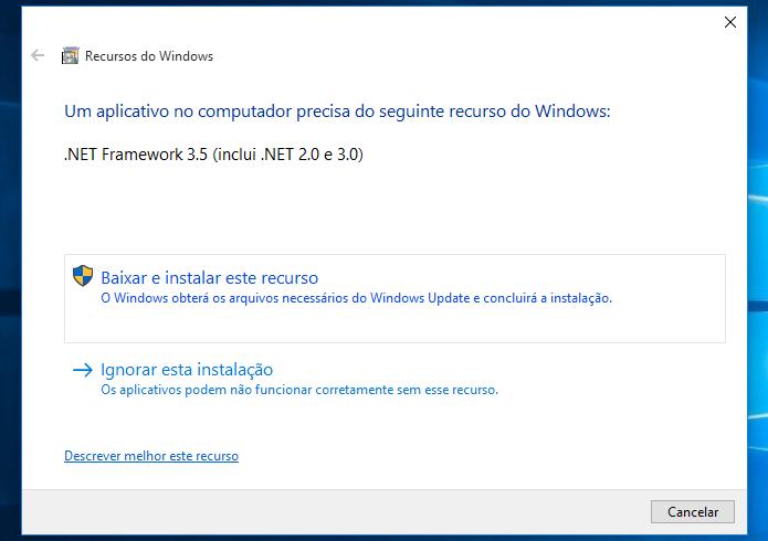 Se necessário, instale o .NET Framework em seu computador (Foto: Reprodução/Helito Bijora)
