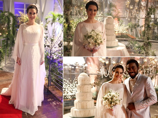 Lara usou um vestido romântico cheio de pérolas (Foto: Pedro Curi e Fábio Rocha/TV Globo)