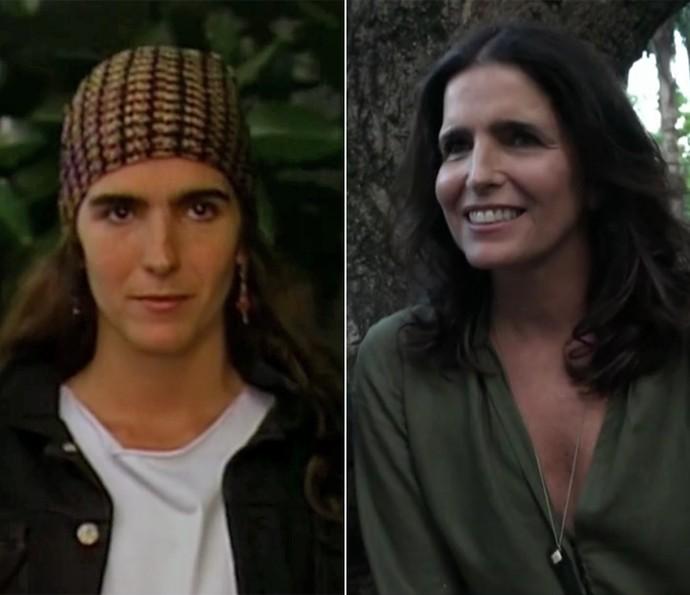 Antes e depois! À esquerda, Malu Mader na época de 'Top Model' e, à direita, em momento atual (Foto: Vídeo Show / TV Globo)