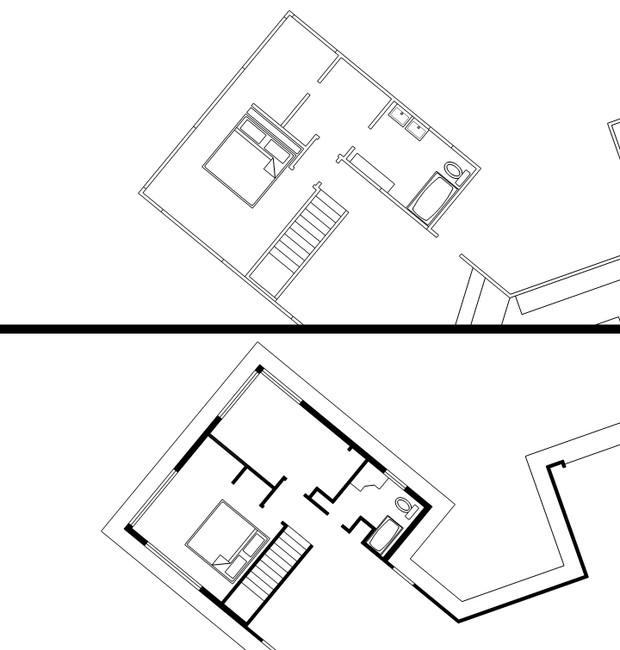 Como se vê na planta do andar de cima da casa, os dois quartos e banheiro do projeto original (imagem de cima) não precisavam de uma porta no corredor. Após a reforma (imagem de baixo), o único acesso ao quarto é através da nova porta/estante.  (Foto: Reprodução/ Imgur)
